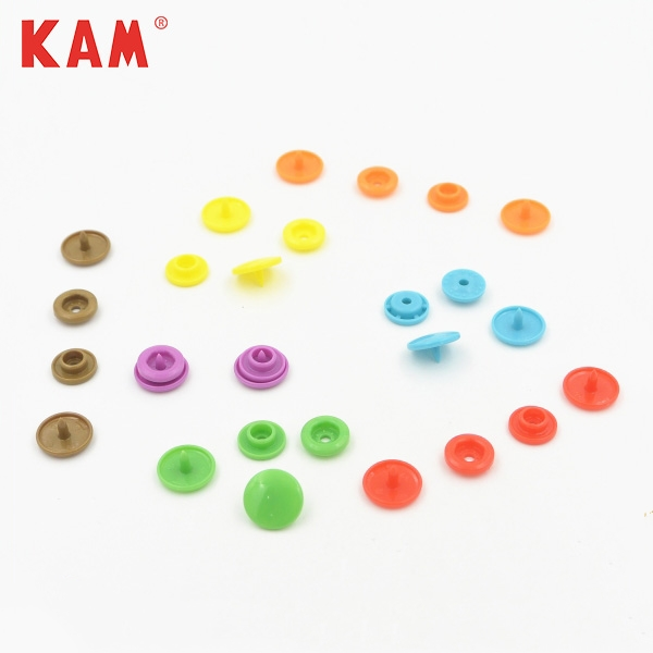 12mm colorful durable multifunction wholesale plastic snap button with customized laser painting logo KAM brand