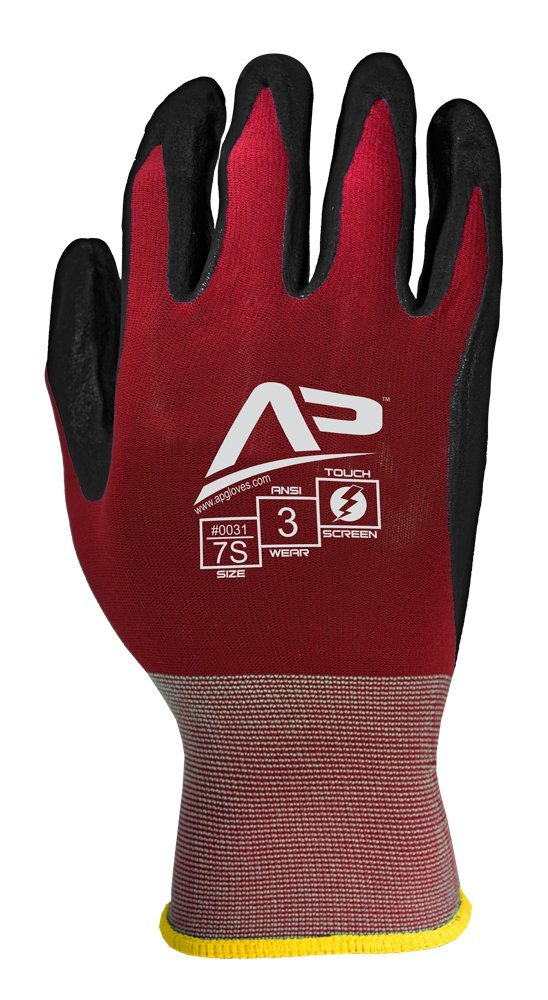 Apollo Performance Work Gloves 33, Ultra Sheer Assembly Multi-Task Glove with Smooth Nitrile, 18 Gauge Nylon Knit, Touch Screen Capabilities with Lightning Touch Technology, 1 Pair, Large, Maroon/Black