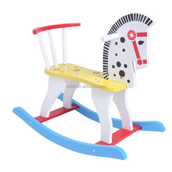 Wooden Rocking Horse Rocking Rider Ride On Horse Blue