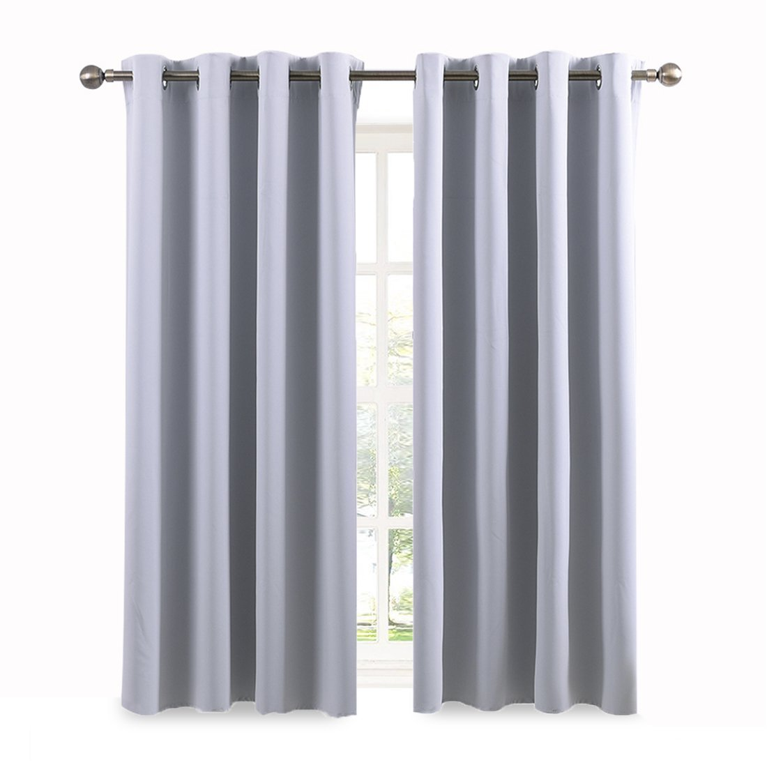 Pony Dance 8 Grommet Top Thermal Insulated Blackout Window treatment Curtains & Drapes for Living Room-(Greyish White Color),52x63 Inch each panel,2 Panels