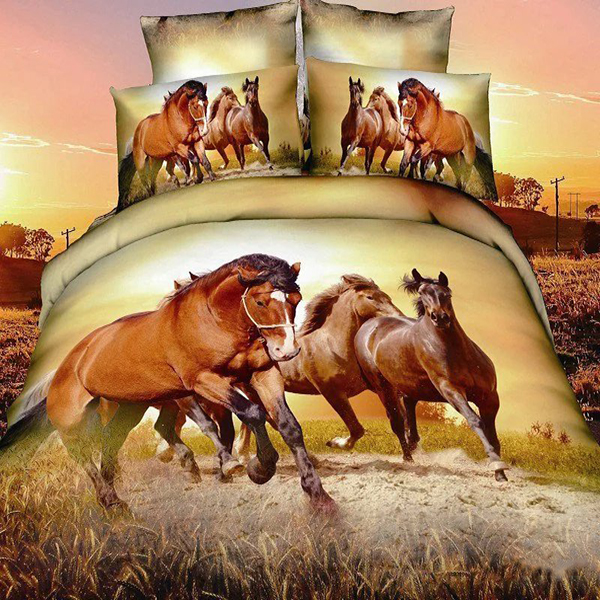 Plain and cotton fabric animal pattern printing horse bed set 3d