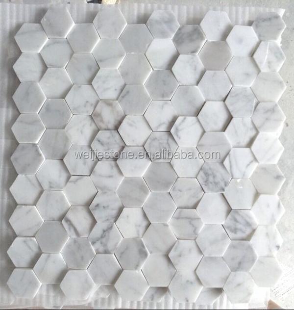 Uneven Carrara White Marble 3d Mosaic Tiles For Wall Decor