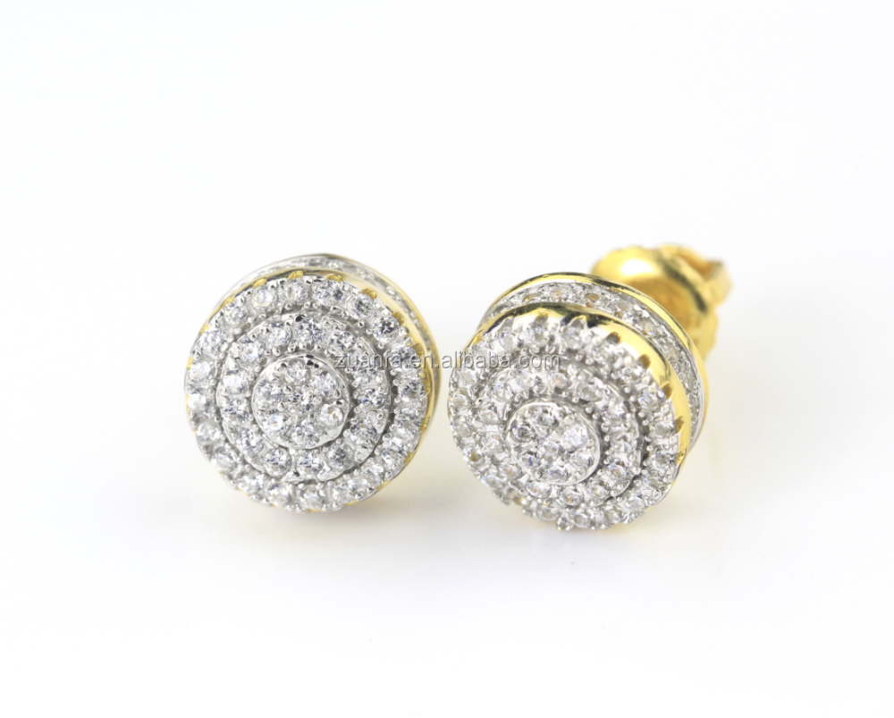 MENS/WOMENS 10mm LAB DIAMONDS YELLOW GOLD FINISH BOYS EARRINGS ...