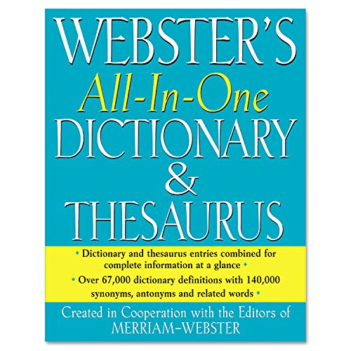 """Merriam Webster - All-In-One Dictionary/Thesaurus Hardcover 768 Pages """"Product Category: Forms Recordkeeping & Reference Materials/Reference Materials"""""""