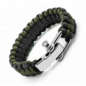 Paracord Survival Bracelet with Adjustable Stainless Steel D Shackle