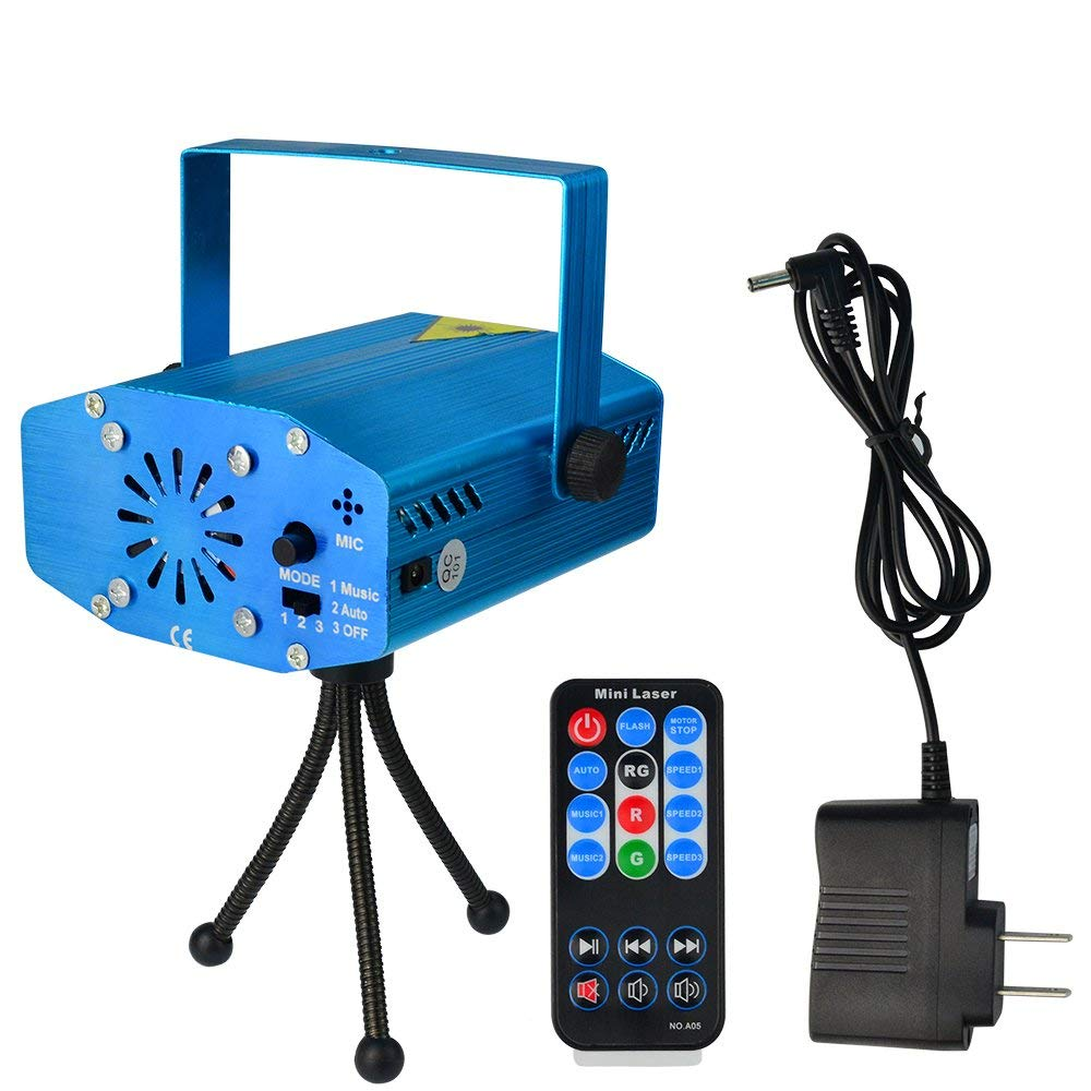 SUMERSHA LED Laser Lights Sound Activated Disco DJ Party Lights Mini Auto Flash RG Led Stage Lights with Remote Control Strobe Lights for Party Show Birthday Wedding Halloween Blue
