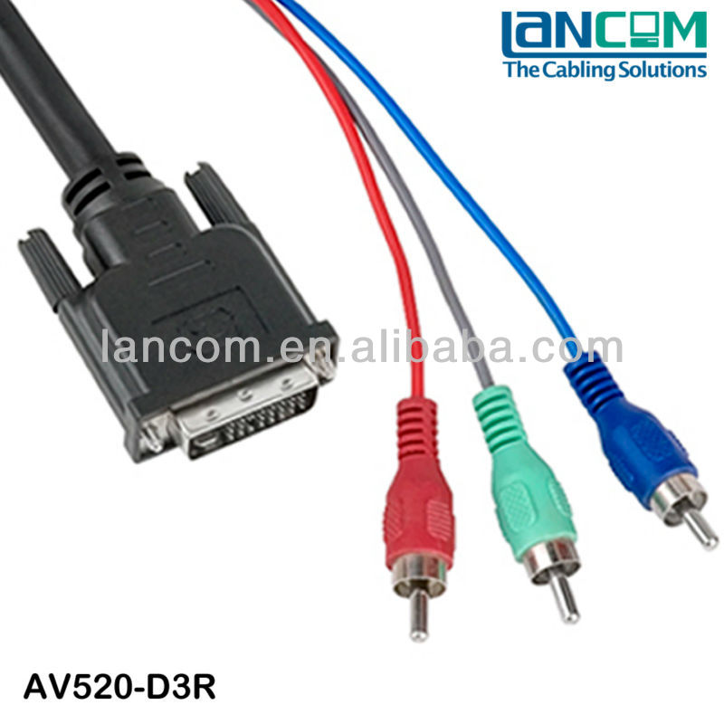 factory DVI 24+5 Cable to 3 RCA cable Male to male