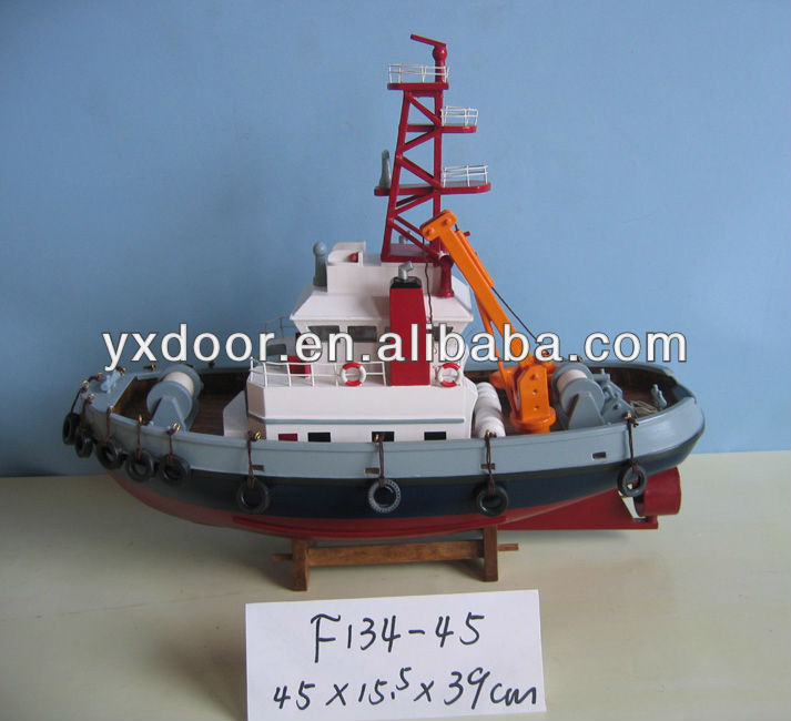 Fishing ship model / 45cm length /wooden boat model, color box if you need.