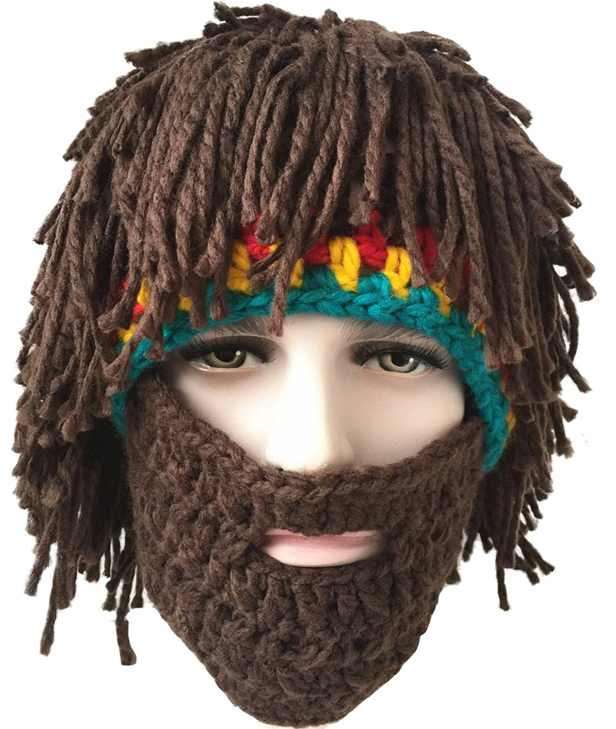 61805fae6d4 Get Quotations · SeptCity Handmade Bearded Face Mask Beanie Hat Costume  Party Cap