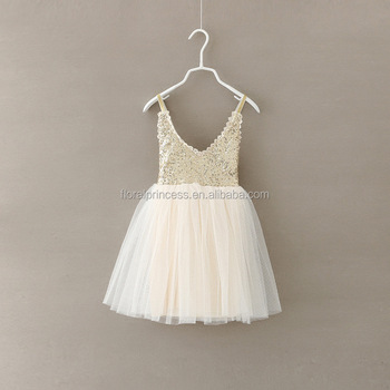 3e568f79d Kids Girl Slip Lace dress Girl Princess Dance Skirt Summer V-neck Sequin  Beige Dress