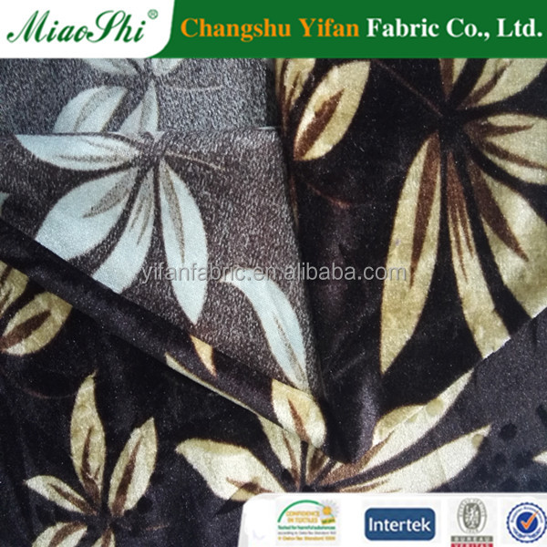 YiFan Manufacture Customized Designs 100 Polyester flower velour Printed Fabric for Upholstery