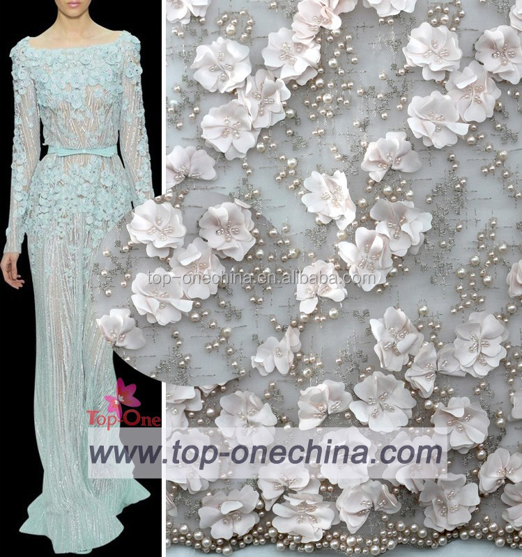 2016 Fancy Flower Mesh Net Fabric With Handmade Bead Embroidery
