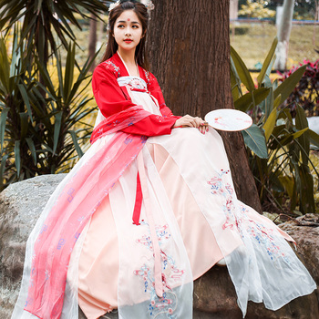 Plus size clothing women hanfu chinese rough clothing Embroidered pink girl clothes show costume koi fish clothes