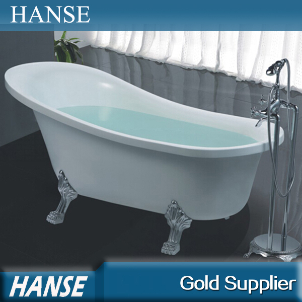 Hs b518 white simple tall resin freestanding used bathtub for Bathtub for tall people