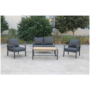 All Weather Balcony furniture 4 piece Modern Patio Conversation Set Loveseat sofa poly wood table