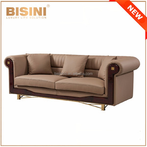 Top Quality Luxury Italy Genuine Leather Sofa Set / European Solid Wood Three Seats Leather Sofa Couch With Metal Frame