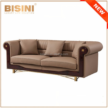 Superb Top Quality Luxury Italy Genuine Leather Sofa Set / European Solid Wood  Three Seats Leather Sofa