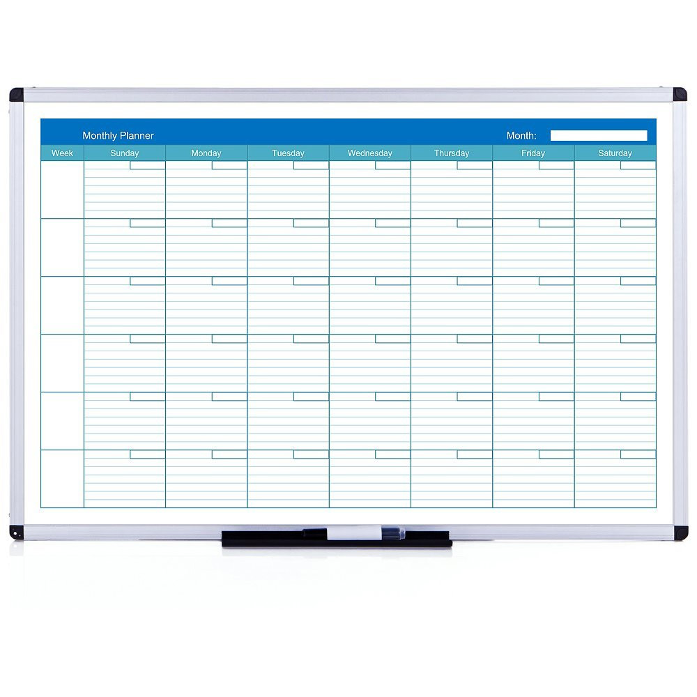 Viz-pro Magnetic Dry Erase Monthly Planner, 36 X 24 Inches, Silver Aluminium Frame