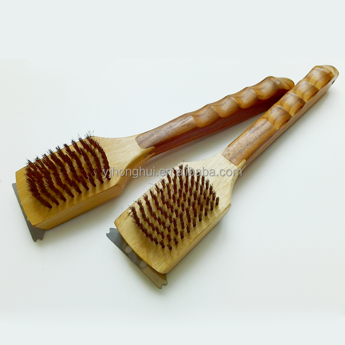 Good quality wooden handle bbq cleaning brush of bbq tool