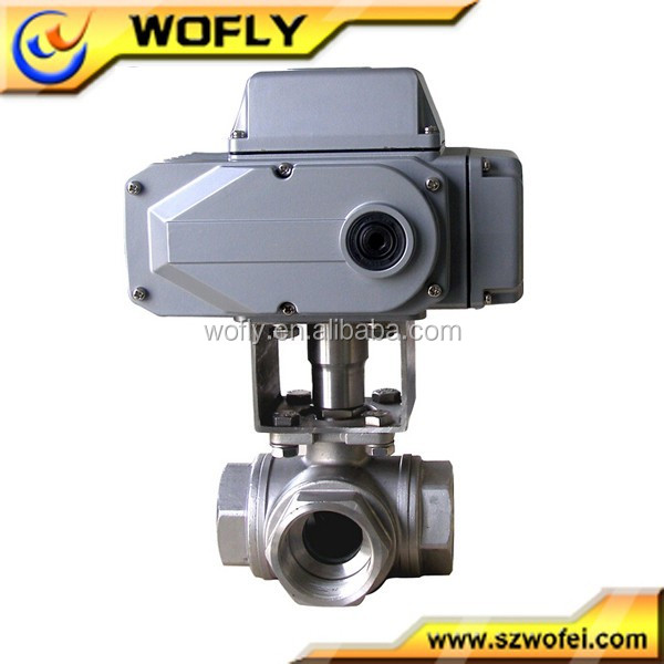 China DC24V three way electric motorized ball valve