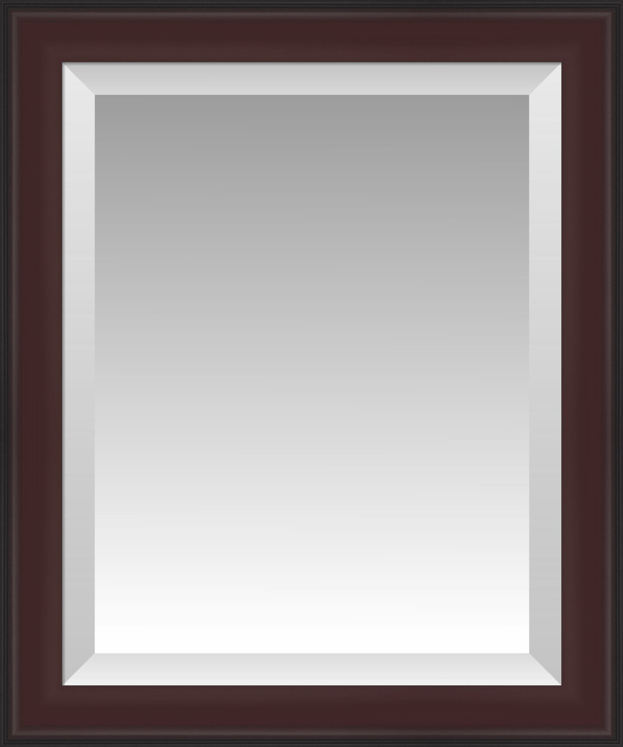 Formal Dark Cherry with Black Outer Edge Beveled Wall Mirror, Size 23.5 X 27.5
