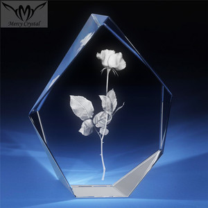 crystal rose flower shape trophy award for Business Employee Awards
