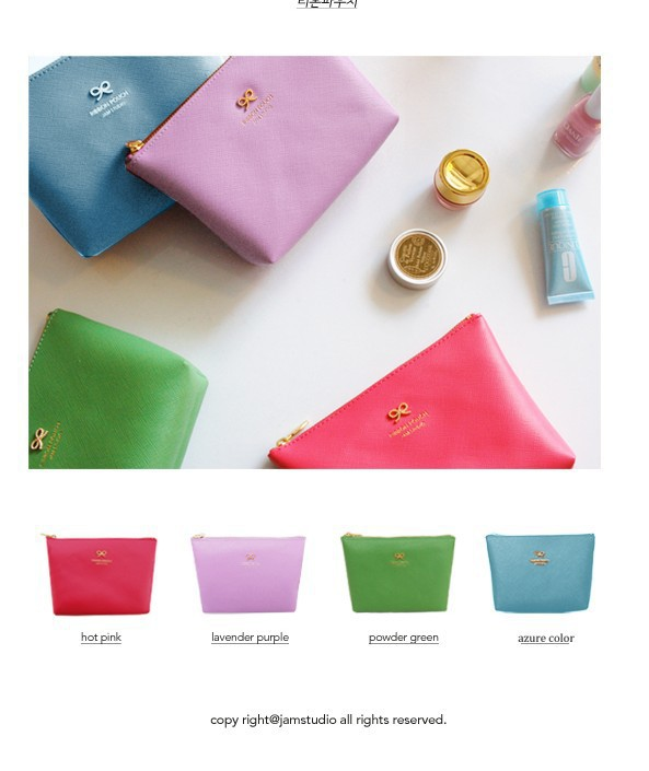 Womens Make up Bag Ribbon Pouch Candy color Zipper Pu Leather Cosmetic Organizer Storage Tidy Bag For Hangbag