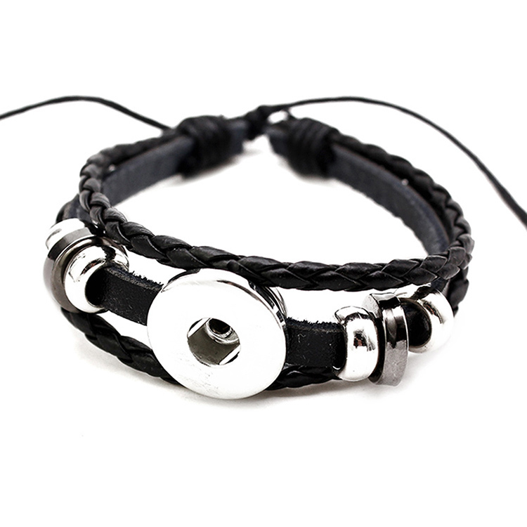 18mm Snap On Jewelry Supplies Whole Diy Charms Adjule Leather Bracelets For Women Men