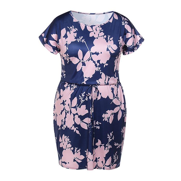 floral moda con verano estampado de y casual hasta estampado de Vestido largo la rodilla Rq4wW5t00