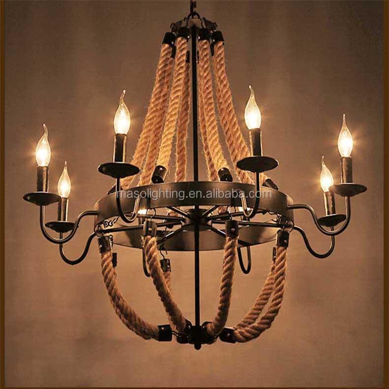 Hemp Rope Pendant Lamp American Farmhouse Vintage Candle Light Winery Bar Villa Hotel Resturant Decorative