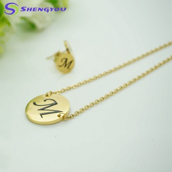 18k Gold Jewelry Set Simple Long Chain Design Gold With Letter M
