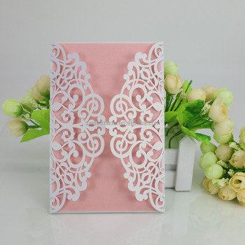 Laser Cut Rose Lace 3D Indian Wedding Invitation Card 2017