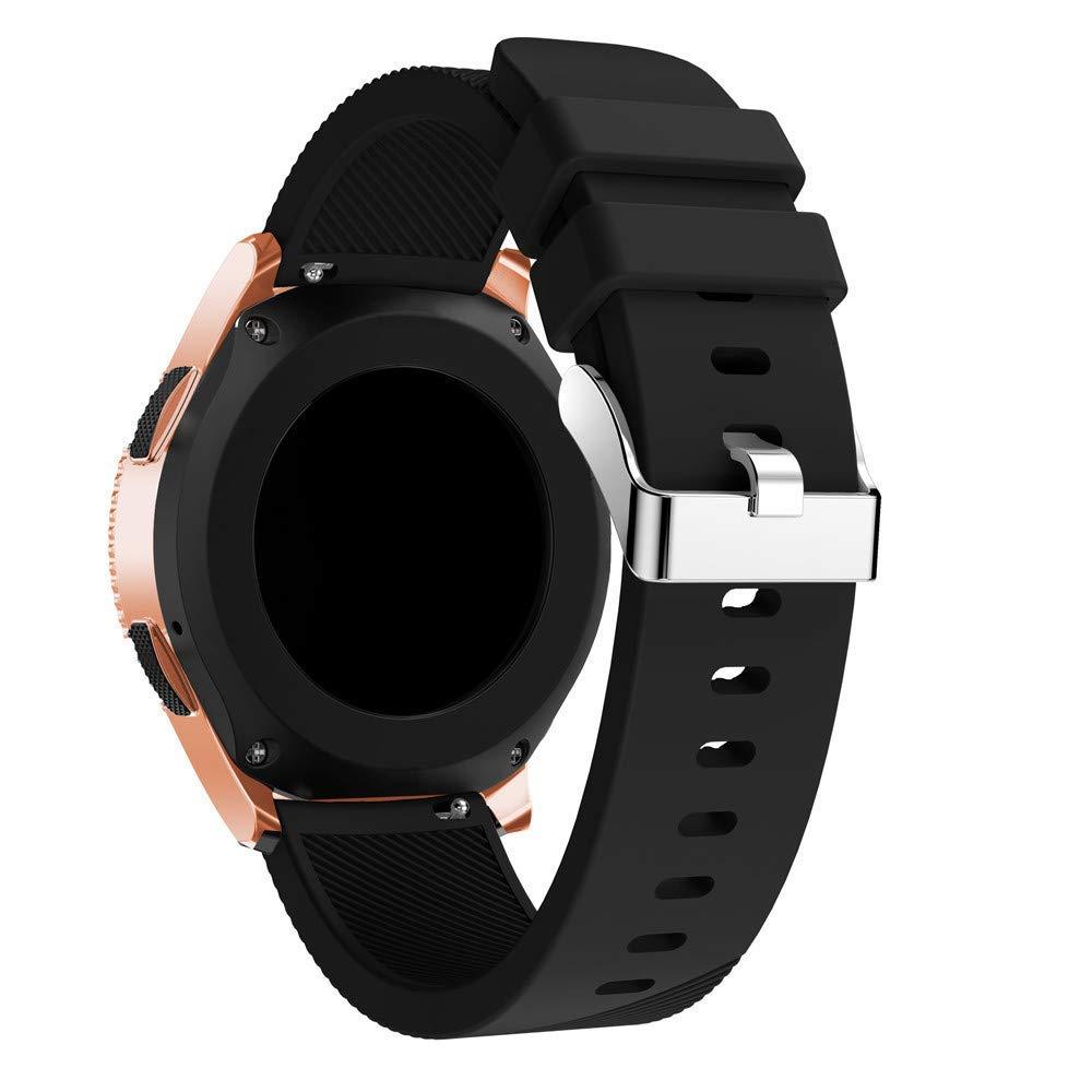 for Samsung Galaxy Watch Band Soft Silicone Band Adjustable Strap for Samsung Galaxy Watch 42mm (Black)