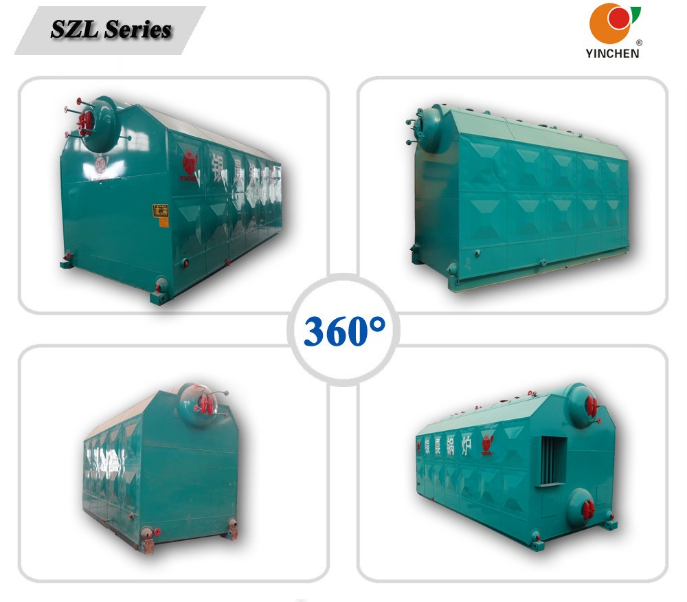 Yinchen Brand steam output 4-20 t/h SZL Series Double Drum Coal Burning Steam Boiler