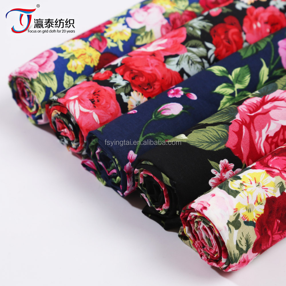 factory directly sales fashion design poplin fabric for children floral cotton textile