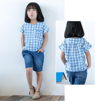 c94040b82553 2017 Summer the new cotton linen kids wear girls top design latest plaid  shirt blouse for