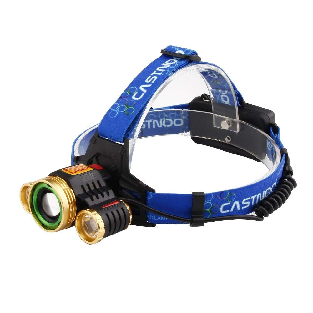 Castnoo Zoomable T6 LED Headlamp 1000 Lumen Rechargeable 4 Modes Tactical LED Headlamp Flashlight for Camping,Powered by 2x18650 Batteries ( Not Included )