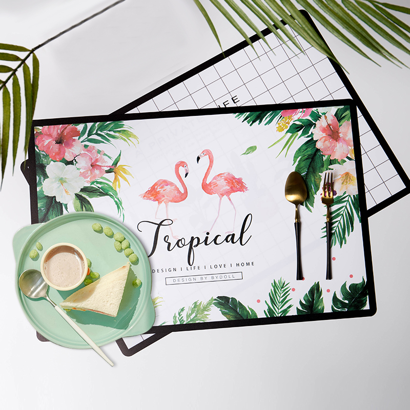 Wholesale Flamingo Green Plant Insulation Slip PP Printed Recycled Plastic Placemat