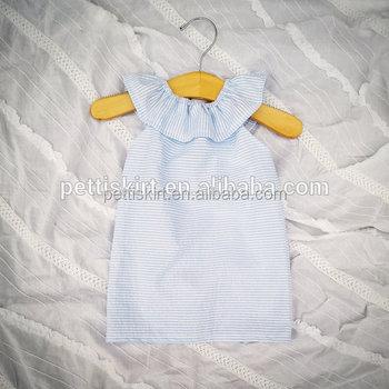 Wholesale Fashion Design Little Girls Clothing Light Blue Seersucker