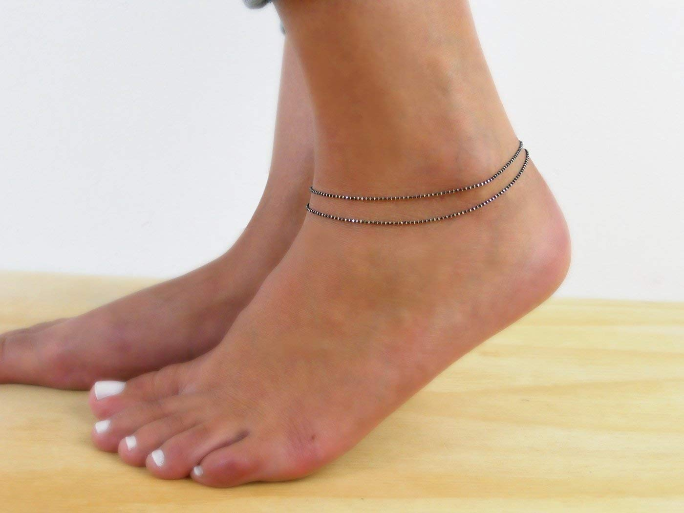 Handmade Designer Multistandard Double Layered Oxidized Sterling Silver Black Ball Chain Anklet