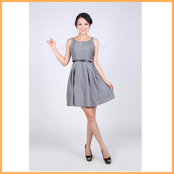 adorable ladies wholesale summer party dress grey casual women a-line dress D0017