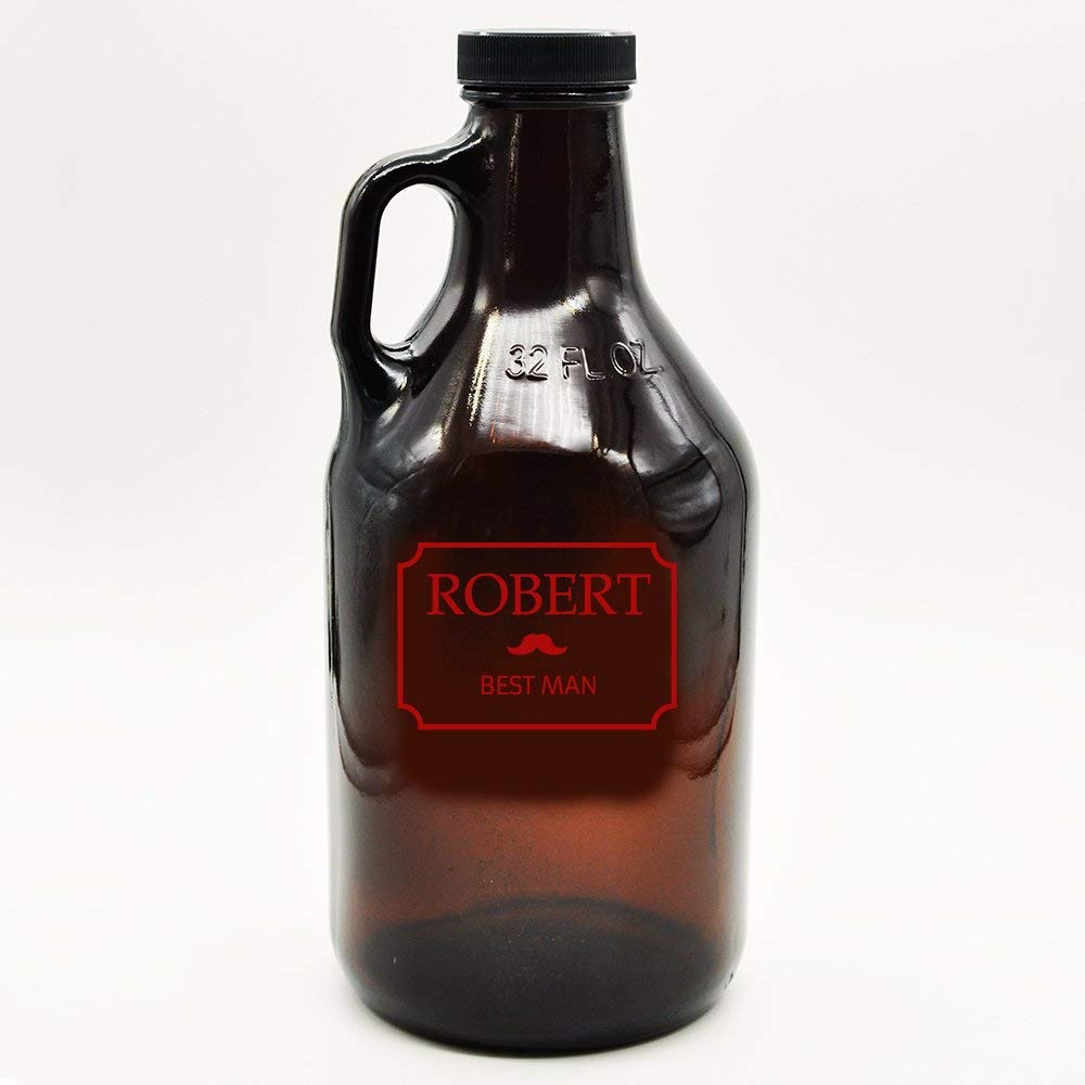 Custom Amber Growler Mustache Design | Personalized Gifts | Beer Brewing | Beer Growlers | Custom Gifts for Guys | Best Man Gifts | Fathers Day Gift (32, Red)