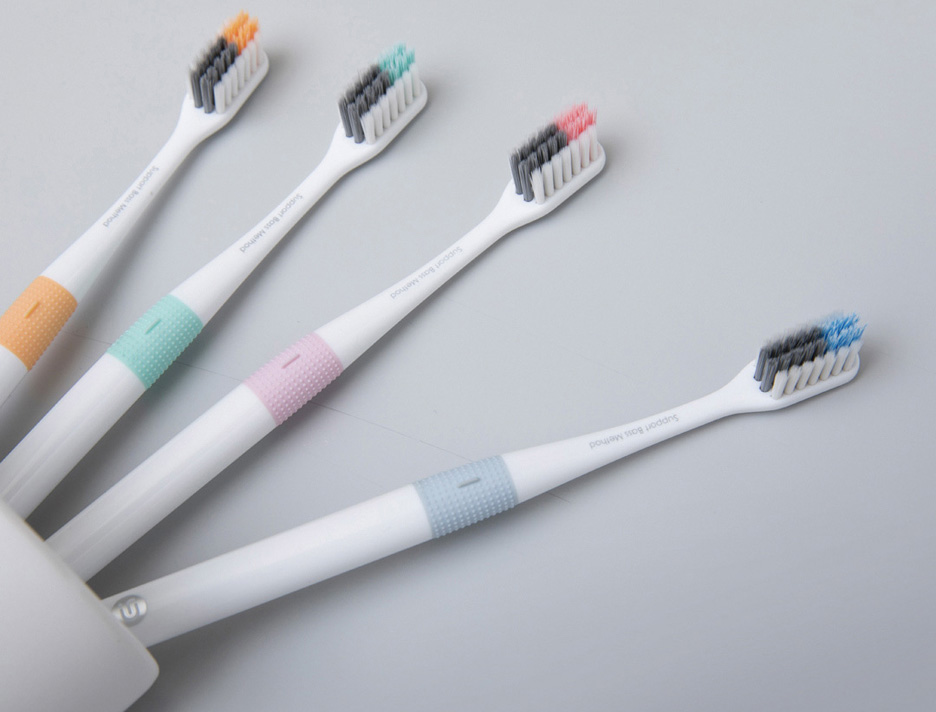Xiaomi Doctor B Toothbrush Bass Method Sandwish-bedded Brush Wire 4 Colors 4 Pcs /set Include Travel Box