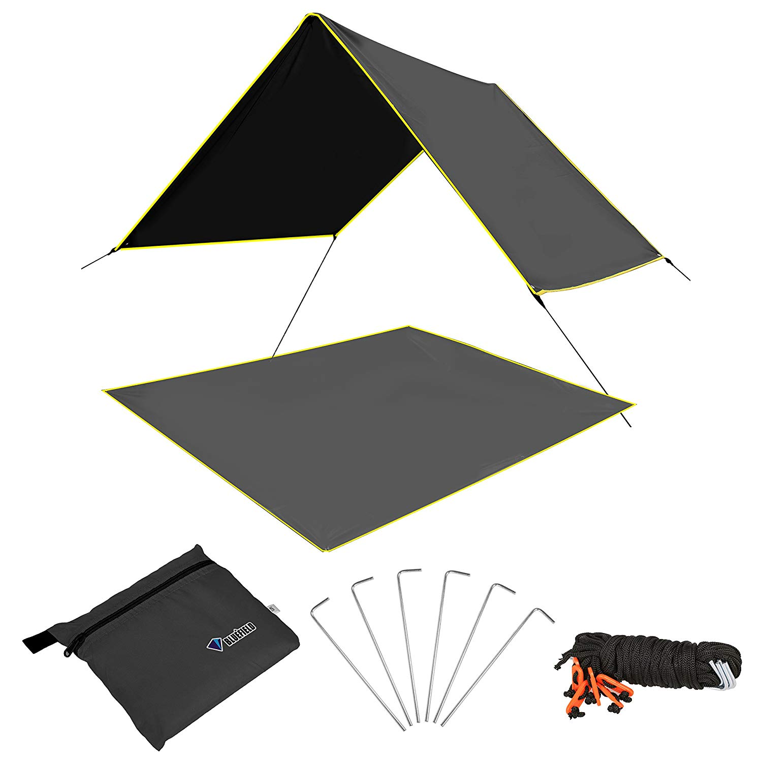Fvino Hammock Rain Fly Waterproof Tent Tarp Camping Shelter Picnic Mat Backpacking Ground Tarp Cover Emergency Shelter with Metal Tent Stakes, Guy Lines, Carry Bag