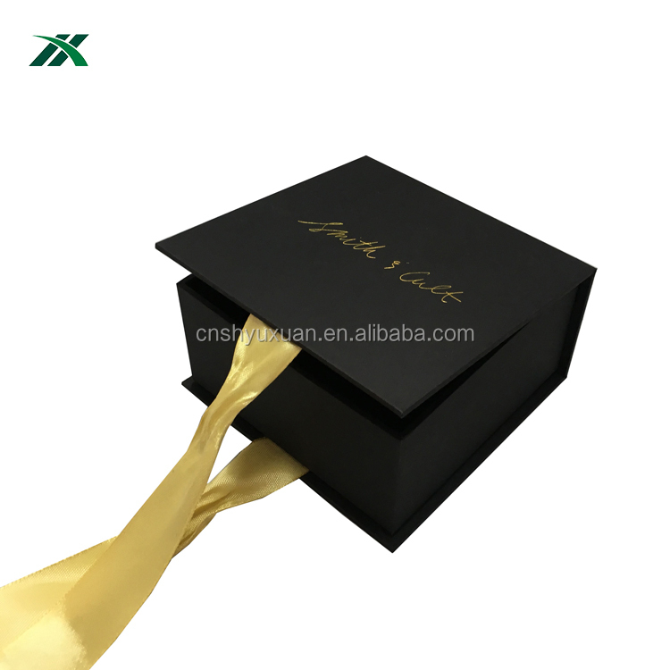 custom cardboard black jewelry box with gold ribbon