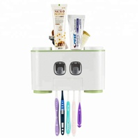 New 2019 Products Super Sticky Automatic Toothpaste Dispenser Plastic Squeezer Wall Mount Toothbrush Holder for Hotel