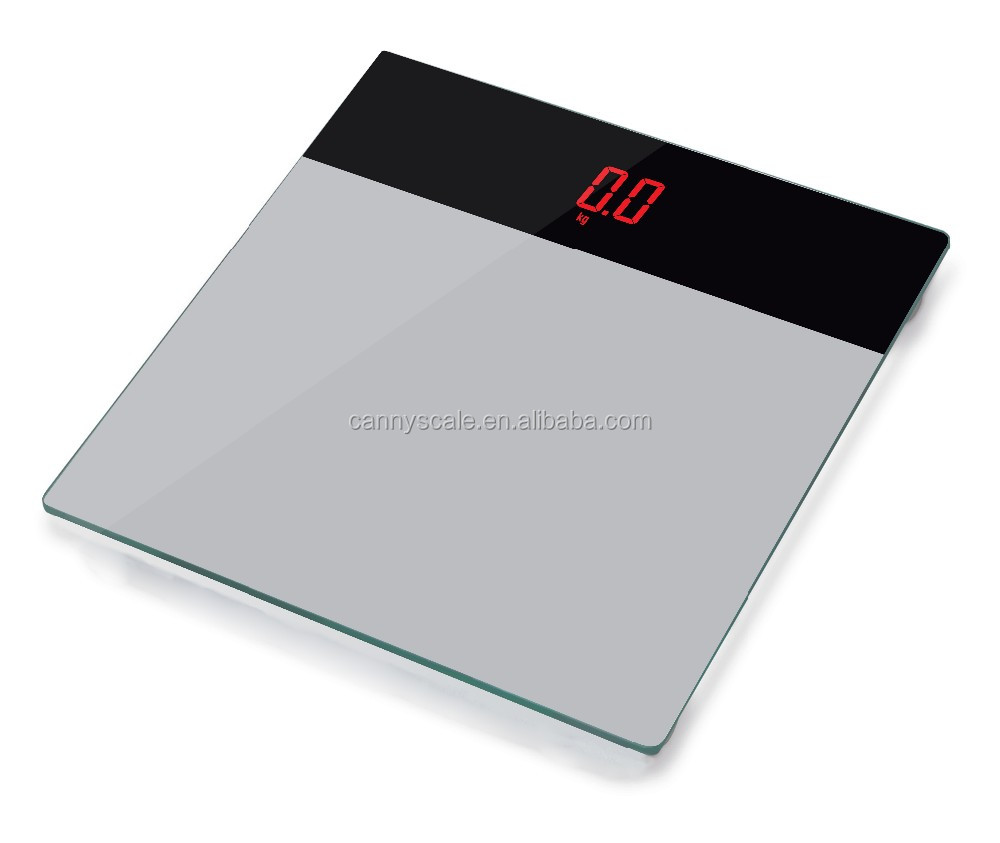 classic LED display body weighing scale with a whole black glass
