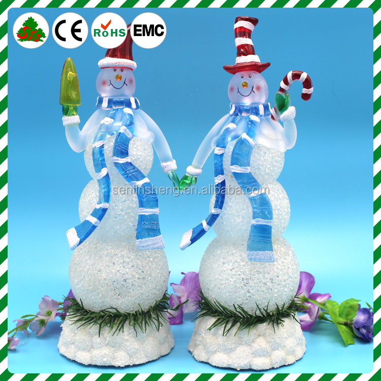 Christmas decorations crystal snowman statues, use battery-powered light LED night light