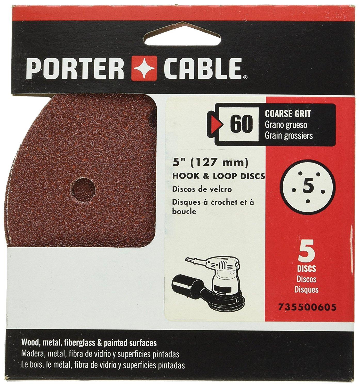 PORTER-CABLE 735500605 5-Inch 60 Grit Five-Hole Hook & Loop Sanding Discs (5-Pack)
