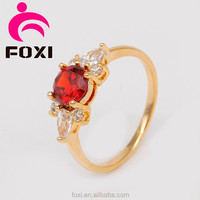 red stone new design 18kara gold AAA Cubic Zirconia fine rings